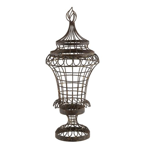 Pair French Cottage Country Wire Leaf Urn with Flame Top- Small
