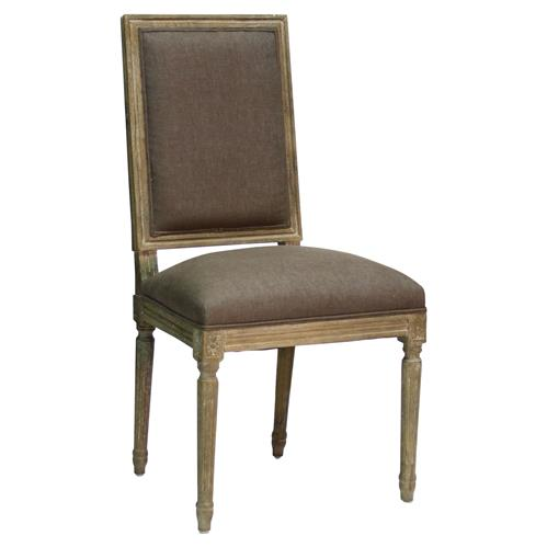 Pair French Country Louis XVI Brown Linen Limed Grey Oak Dining Chair | Kathy Kuo Home