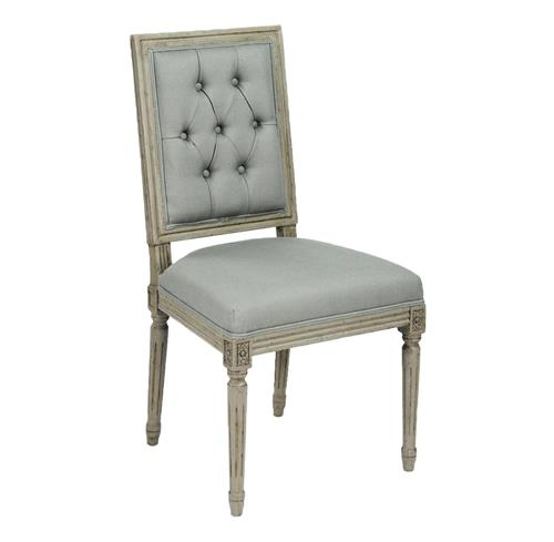 Pair French Country Louis XVI Sage Green Tufted Linen Dining Chair | Kathy Kuo Home