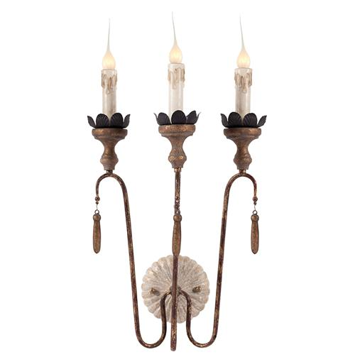 Pair Joni 3 Light Shabby French Simple Wall Sconces
