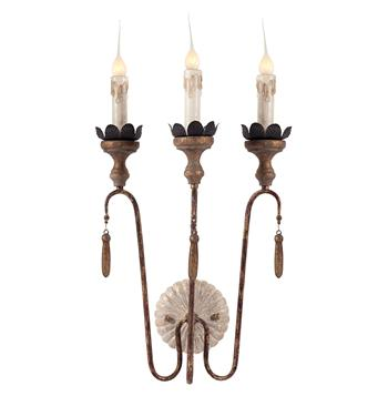 Pair Joni Three Light Shabby French Simple Wall Sconces