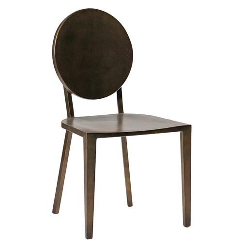 Pair Joyce Simple Modern Dark Antique Brass Side Chair