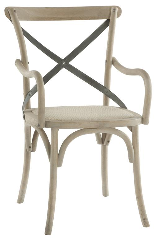 Pair Kasson French Country Paris Cafe Wood Metal Dining Arm Chair | Kathy Kuo Home