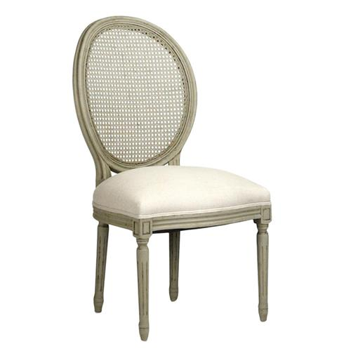 Pair Madeleine French Country Oval Caned Olive Dining Chair