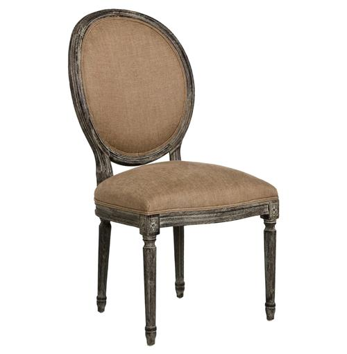 Pair Madeleine French Country Oval Copper Linen Limed Oak Dining Chair