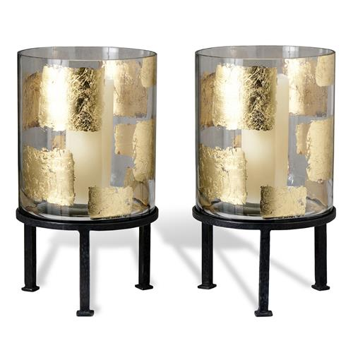 Pair Modern Gold Leaf Large Floor Hurricane Candle Holders