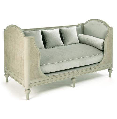 Palais French Country Grey Sage Green Painted Cane Day Bed