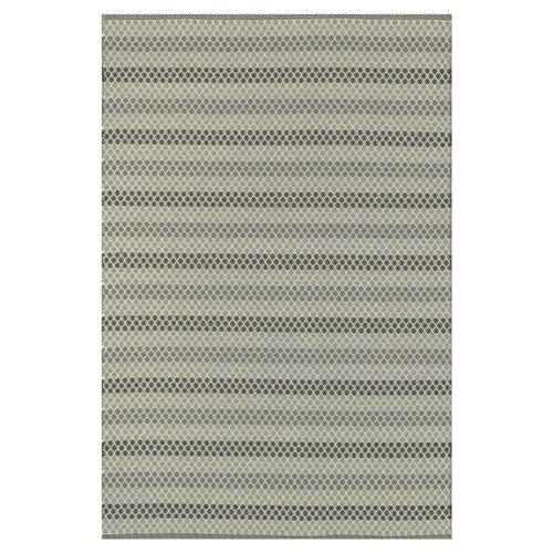 Palapa Coastal Steel Grey Black Stripe Outdoor Rug 5x7 6