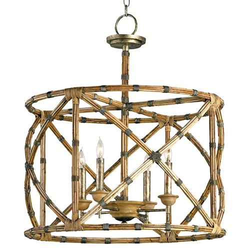 Palm Beach Bamboo Washed Wood 4 Light Lantern Pendant Lamp | Kathy Kuo Home