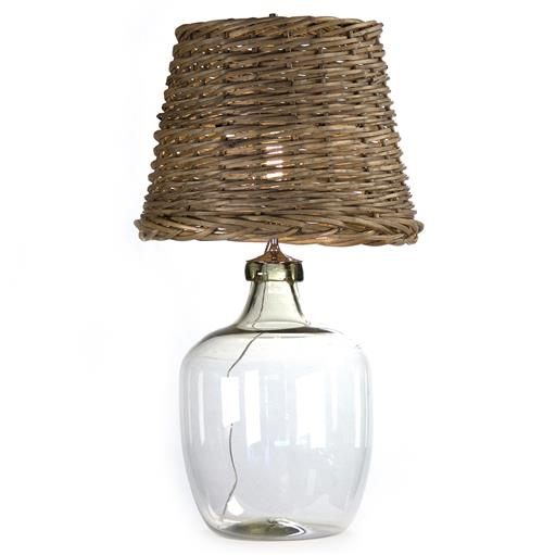 Panier French Cottage Large Glass Rustic Basket Shade Table Lamp - L