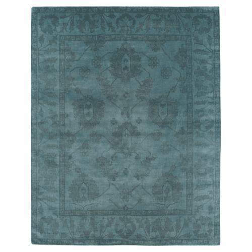 Paoli Bazaar Overdyed Teal Blue Wool Rug - 8x10