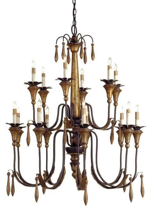 Parisians Vintage Style Gold Leaf 15 Light Chandelier