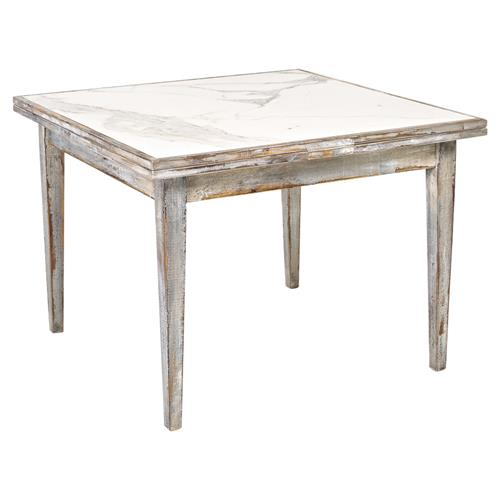 French Country Style Vintage Extendable Dining Table 1940: Pauleen French Country Marble Top Distressed Antique Grey
