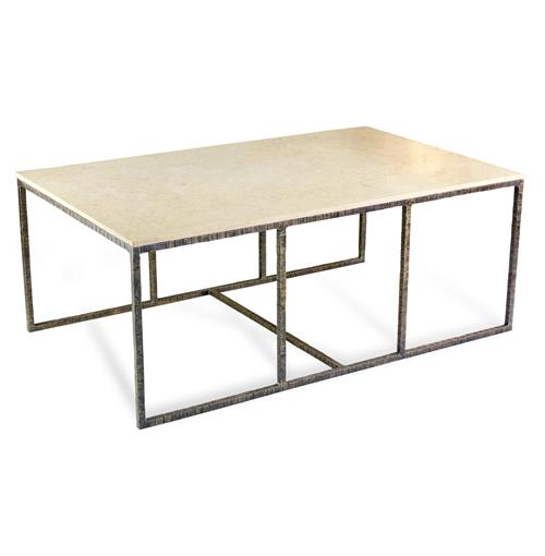 Pax Modern Contemporary Ivory Cream Marble and Iron Coffee Table
