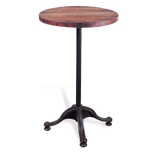 Pedro Reclaimed Wood Industrial Hydraulic Round Bar Table