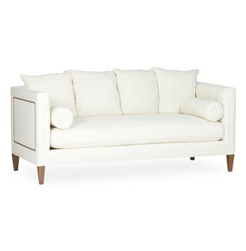Pembroke Hollywood Regency Ivory Linen Nail Head Sofa