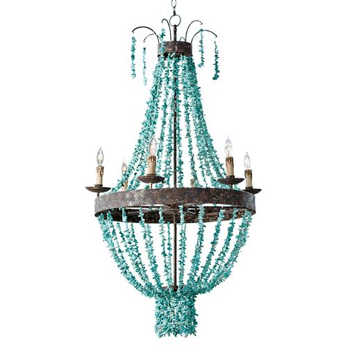 Pensacola Coastal Beach Beaded Turquoise Metal Chandelier