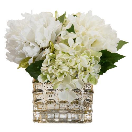 Peony Hydrangea Mercury Glass Faux Floral Arrangement