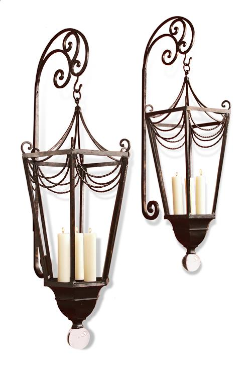 Lantern Style Wall Sconces : Perpignon Large Metal Ornate French Wall Candle Sconce Lanterns