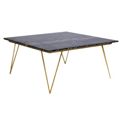 Hollywood Regency Black Marble Gold Coffee Table Kathy Kuo Home