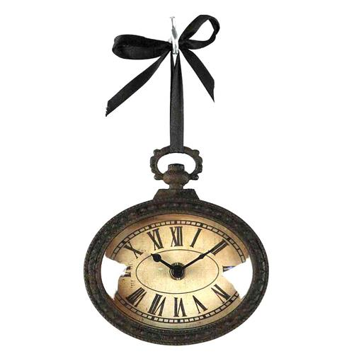 Pocket Watch Style Vintage French Rustic Ribbon Horizontal Oval Wall Clock