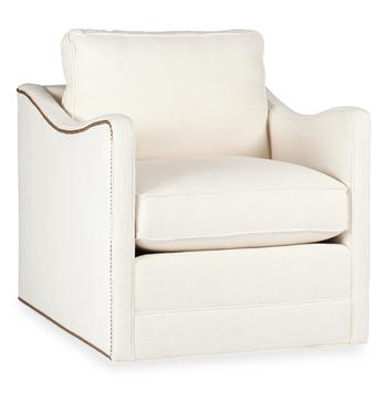 Porter Masculine Hollywood Regency Ivory Linen Nail Head Swivel Arm Chair