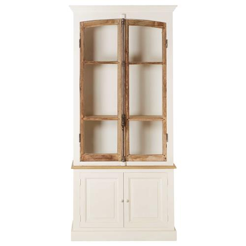Portes Antique French Country 2 Door White Pine Cabinet Curio | Kathy Kuo Home