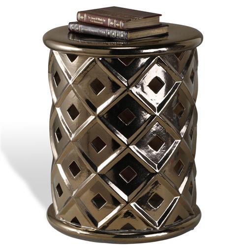 Povah Hollywood Regency Dark Gold Ceramic Garden Stool