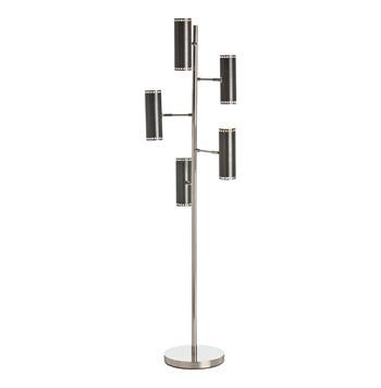 Pruitt Polished Nickel 5 Light Adjustable Floor Lamp