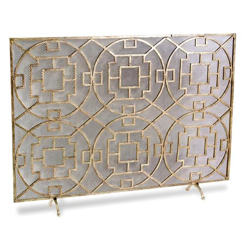 Pyra Modern Transitional Gold Leaf Medallion Fireplace Screen | Kathy Kuo Home