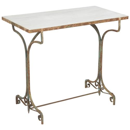 Country Kitchen Ramona: Ramona French Country Rustic Storm White Marble Side Table