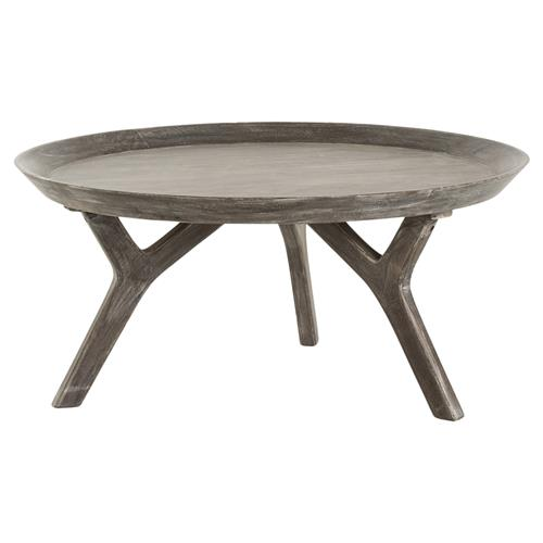 Large Wooden Coffee Table Tray: Rayvon Rustic Grey Wood Round Tray Coffee Table