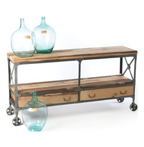 Reclaimed Wood Steel Industrial Loft Cart Sideboard Buffet
