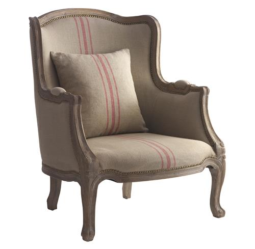 Rennes Rustic French Country Linen Red Stripe Arm Chair