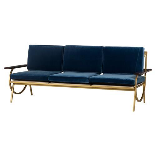 Resource Decor B Mid Century Curved Gold Blue Velvet Sofa