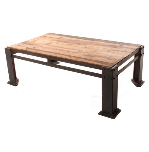Rigger 39 s reclaimed teak wood chunky leg coffee table for Large chunky coffee table