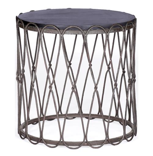 Robin Industrial Loft Reversible Top Matte Black Side Table