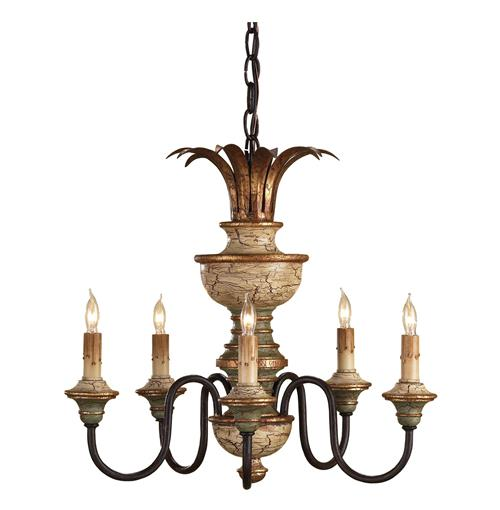 Roma Italianate Hand Painted 5 Light Chandelier