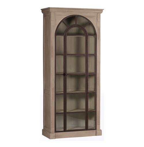 Roman Antique Gray Brown Rust Large Curio Cabinet Kathy