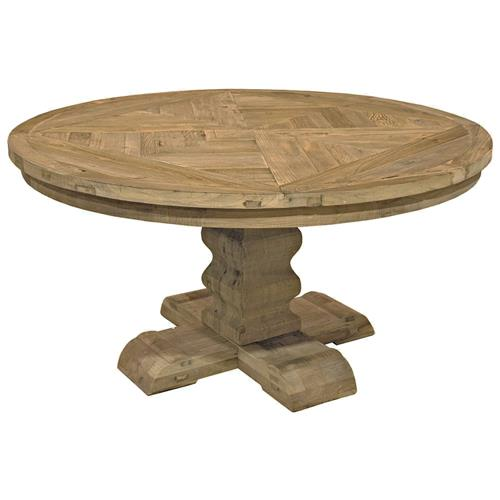 Romand French Country Reclaimed Elm Parquet Round Dining Table Dining