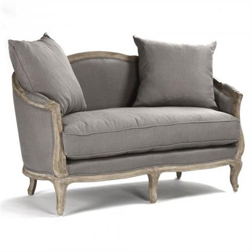 Rue du Bac French Country Grey Linen Feather Settee Loveseat