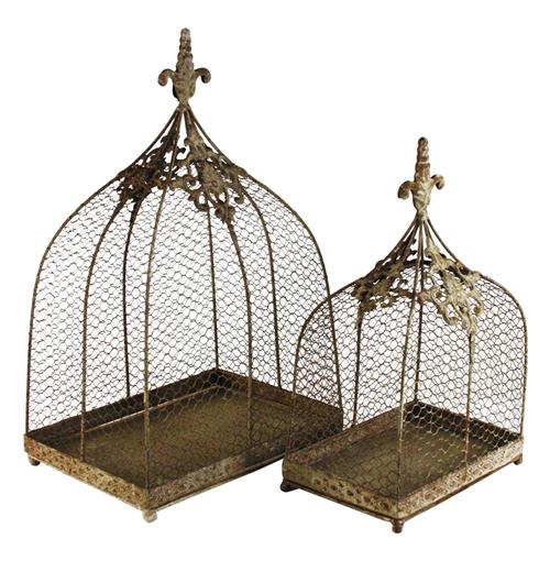 Rustic Wire Decorative Bird Cages - Set of 2