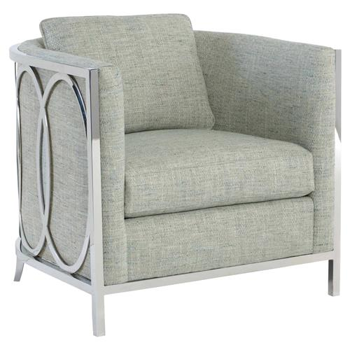 Ryker modern classic grey upholstered silver metal living - Modern upholstered living room chairs ...