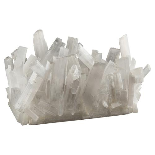 Sabrina Modern Coastal White Jagged Selenite Crystal Vase