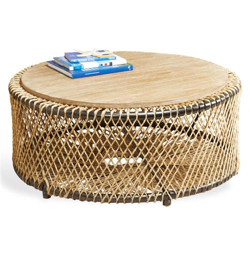 Saranda Beach Style Wood Rope Round Coffee Table | Kathy Kuo Home
