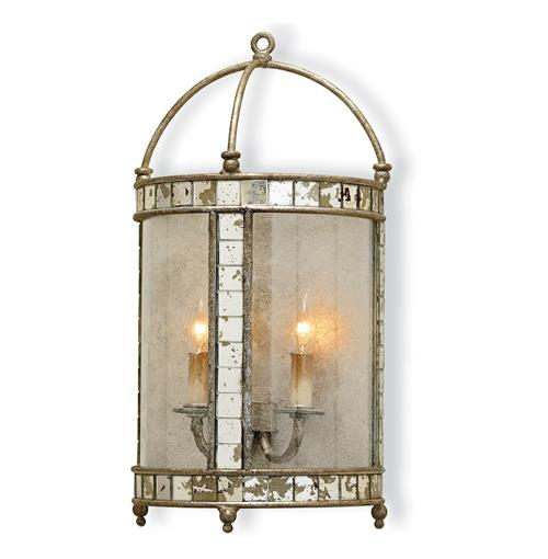 Sardinia Antique Silver Leaf Lantern Style Wall Sconce