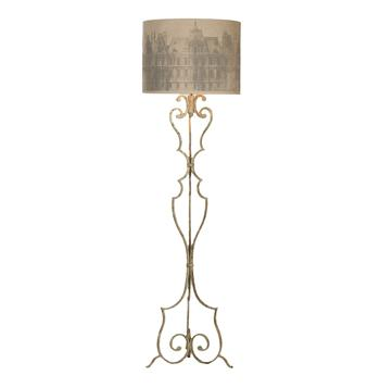 Savon Printed Paris Shade Antique Gray Wrought Iron Floor Lamp