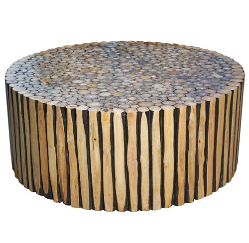Rustic Round Wooden Coffee Table: Sawney Rustic Lodge Reclaimed Wood Round Coffee Table