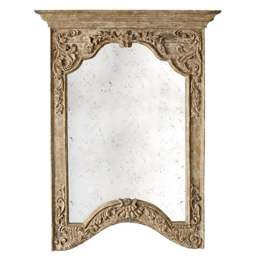 Saxony French Provencal Antique Carved Pedestal Arched Mirror | Kathy Kuo Home