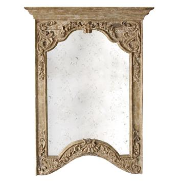 Saxony French Provencal Antique Carved Pedestal Arched Mirror- Small